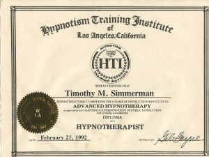 Gil Boyne's Certificate Acknowledging Tim's 1992 Hypnotherapy Training