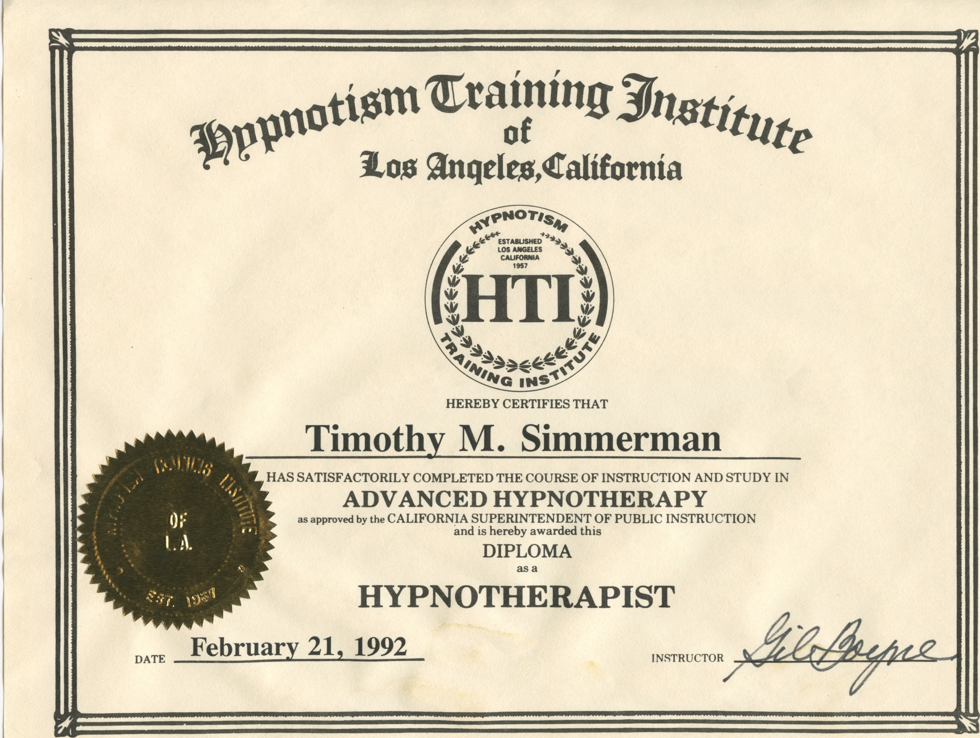 Gil Boynes Certificate Acknowledging Tims 1992 Hypnotherapy Training